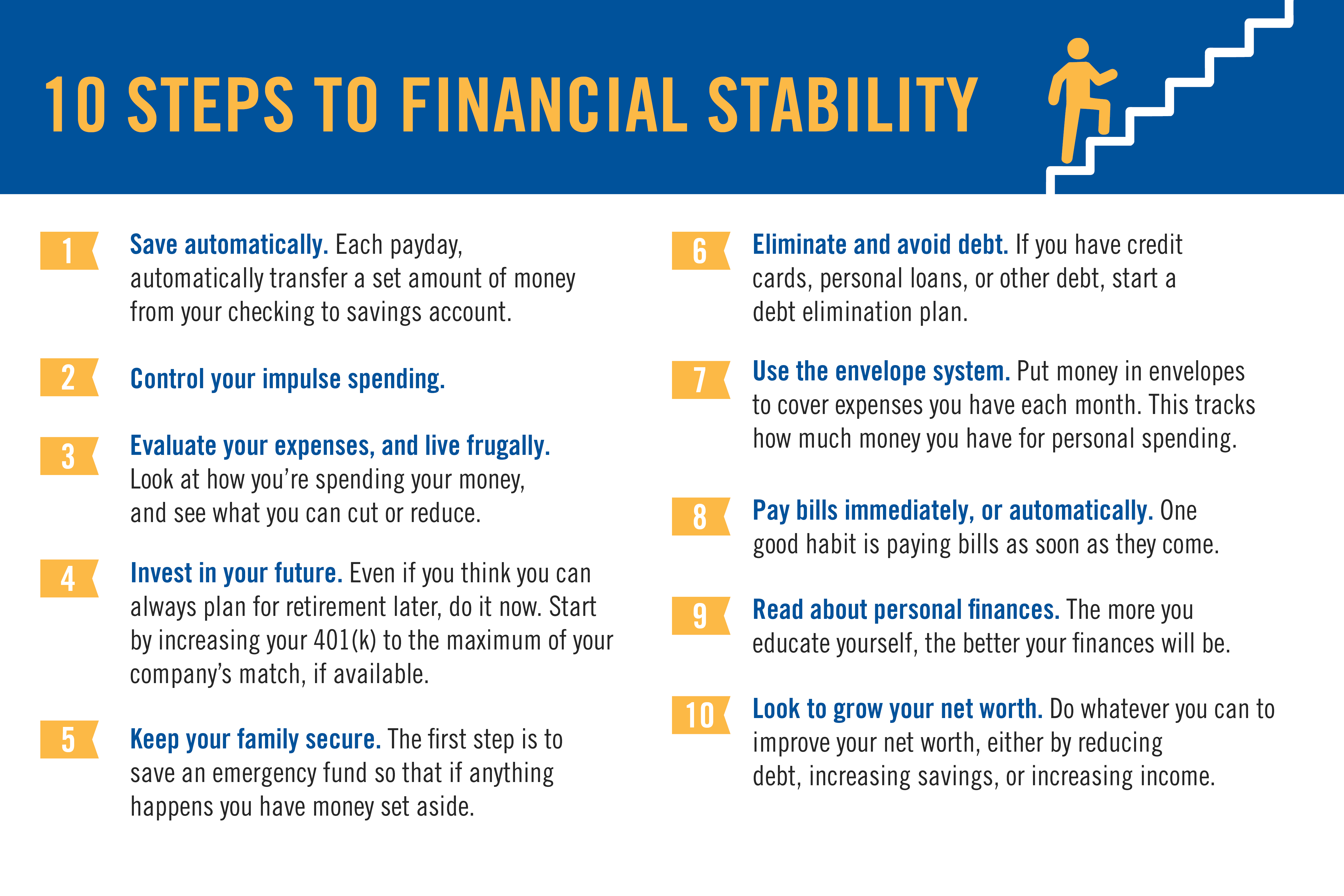 10 Steps to Financial Stability & Savings Tips